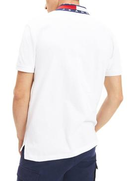 Polo Tommy Jeans Flag Neck Weiß Herren