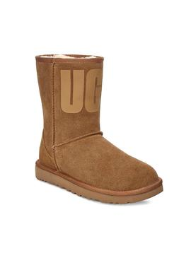 Stiefelettes UGG Classic Short Rubber Logo Chestnu