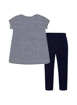 Set Mayoral gestreifte Leggings Marine Blau für Girl