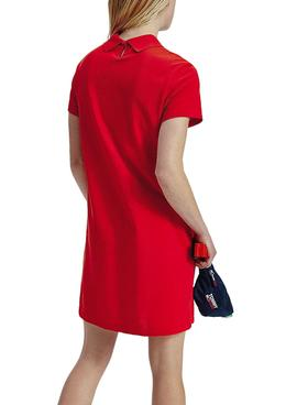 Kleid Tommy Jeans Essential Polo Rot für Damen