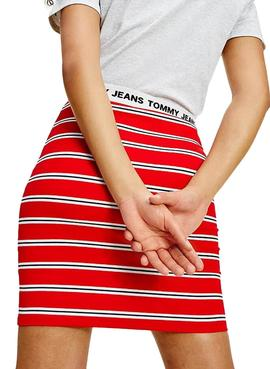 Rock Tommy Jeans Stripe Bodycon Rot Damen