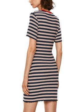 Kleid Tommy Jeans Striped Marine Blau für Damen